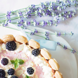 Blueberry Charlotte by Dragos Pop - Food & Drink Cooking & Baking ( cake, tasty, sweet, blueberries, cream, dessert )