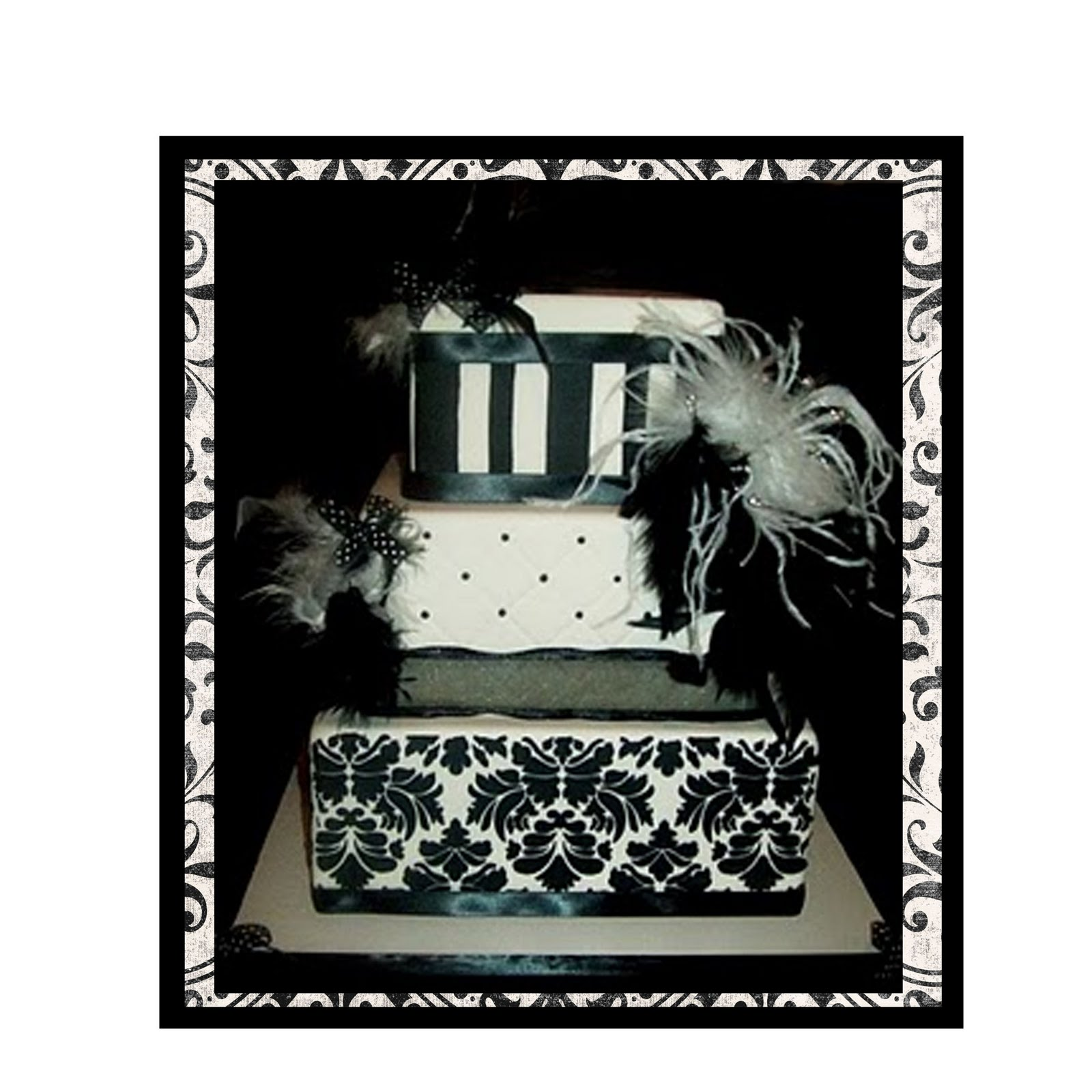 Black and Ivory Damask Wedding