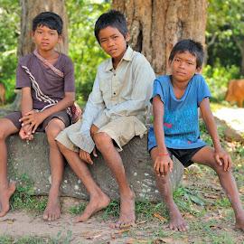 Shepherds by Tomasz Budziak - Babies & Children Child Portraits ( boys, asia, children, cambodia )