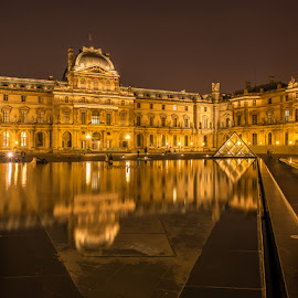 Louve by Sheldon Anderson - Buildings & Architecture Public & Historical ( water, paris, reflection, may, 2014, louve, night )