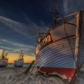 Thorup Strand by Ole Steffensen - Transportation Boats ( fishing vessels, jammerbugten, sunset, beach, denmark, thorup strand,  )
