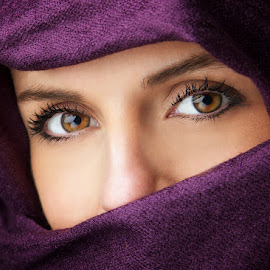 Hypnotized by El Guapo - People Portraits of Women ( purple, hypnotized, scarf, portrait, eyes )