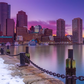 City On Fire by Jonathan Elcock - City,  Street & Park  Skylines ( skyline, boston, color, sunset, long exposure, massachusetts, fan pier, city )