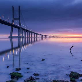 suave amanhecer by Emanuel Ribeiro - Landscapes Waterscapes ( tejo, bridge, portugal, lisboa, river )