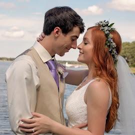 Bliss by Carole Brown - Wedding Bride & Groom ( floral crown, red hair, lake, bride and groom, brown hair )