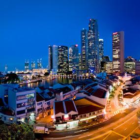 Boat Quay Panorama by Mario Wibowo - City,  Street & Park  Vistas ( mario wibowo, foto escape, blue hour, cityscape, nikon, singapore, fotorio )