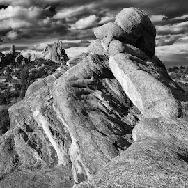 Garden of the Gods View of Cathedral Rock from High Point by Tony Lobato - Black & White Landscapes ( blackandwhite, black and white, rocky mountains, colorado, cloud, sandstone, rock formation, landscape, landscapes, garden of the gods,  )