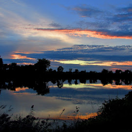 Autumn Sunset In Saginaw by Howard Sharper - Landscapes Waterscapes ( reflection, riverside, waterscape, sunset, blue hour )