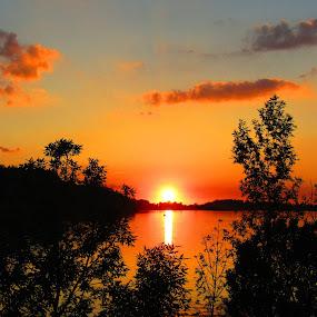 Centered On Sunset by Howard Sharper - Landscapes Sunsets & Sunrises ( landscapes, reflections, golden hour, sunset, riverside,  )