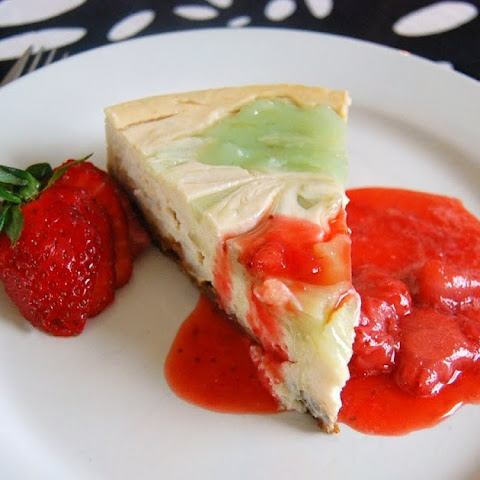 "Emerald City ""Cheese"" Cake with a Ruby Red Strawberry Sauce"