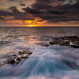 Mushroom Swell by Jared Goodwin - Landscapes Waterscapes ( clouds, water, skyline, sunrises, waterscape, seascapes, waterfall, cloudscape, sea, seascape, paradise, landscape, sun, sky, sunsets, sunset, sunrays, cloudy, cloud, sunshine, long exposure, sunrise, landscapes, rocks, hawaii, slow shutter, golden hour )