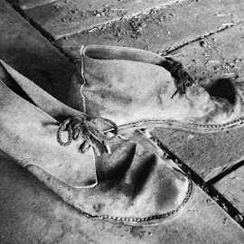 Old Shearers shoes by Gill Fry - Artistic Objects Clothing & Accessories ( shoes, shearer, old, black and white, antique,  )