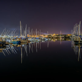 Townsville Marina by Mick Frey - Landscapes Waterscapes ( water, night., boats, reflections,  )