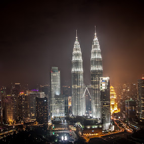 KLCC night View by Zakaria Sahli - Landscapes Starscapes ( night, lights, city )