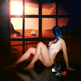 Waiting by Lawrence Ferreira - Digital Art People ( sadness, solitude, ocean, sun, lonesome, patient, riverside, aloneness, semi-nude, digital art, desolation, longing, ocean view, lonely, alone, nudes, tearful, emptiness, loneliness, waiting, artistic nude, digital painting, shadows, remoteness, sunset,  )