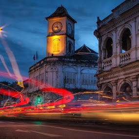 Old Town, Phuket by Vincentius Dedy Angsana - City,  Street & Park  Street Scenes ( stanchart building, old town, thailand, phuket, slow speed )