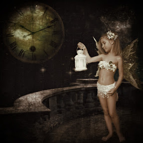 the lantern by Kathleen Devai - Digital Art People ( fantasy, lantern, sepia, time, clock, fairy )
