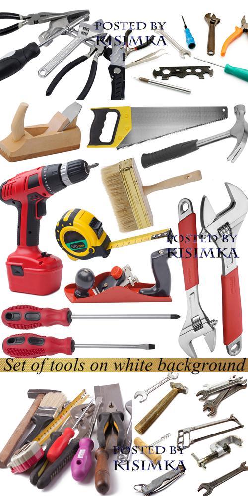 Stock Photo: Set of tools on white background