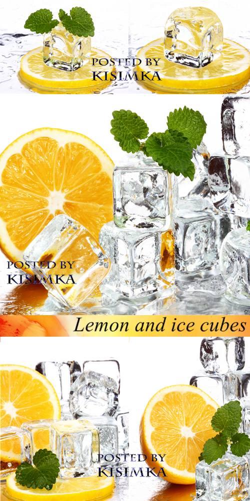 Stock Photo: Lemon and ice cubes