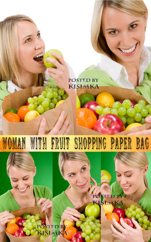 Stock Photo: Woman with fruit shopping paper bag