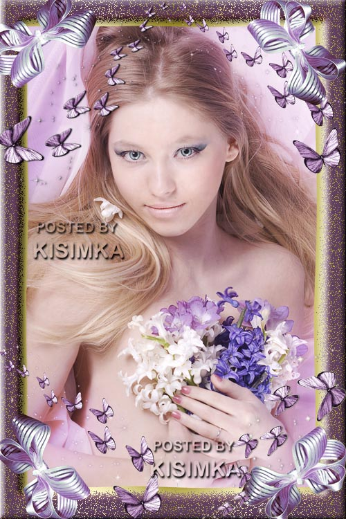 Lilac photoframework with butterflies and bows