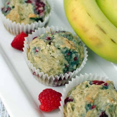 Delicious Gluten-free Dairy-free Banana Raspberry Muffins