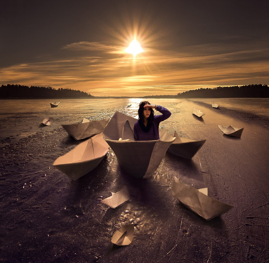 Sailing on a memory by CrisTina Ramos - Digital Art People ( paper boats, fantasy, dream, sunset, paper, boat, fairytale )