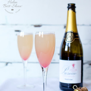 Spiced rhubarb and orange Prosecco cocktail