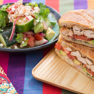 Mexican-Style Chicken Tortas with Tomato, Avocado & Cucumber Salad