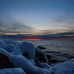 Frozen Dawn by Jill Beim - Landscapes Sunsets & Sunrises ( dawn, blue, ice, lake, sunrise, frozen )