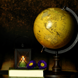 by Dipali S - Artistic Objects Still Life ( candle, reading, still life, artistic, book, study, light, flower, globe )