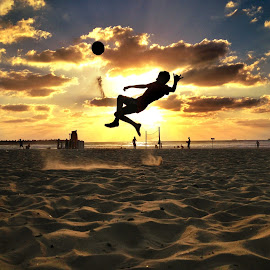 It's soccer time :) by Kobi Refaeli - Sports & Fitness Soccer/Association football ( ball, sunset, sea, beach, soccer )