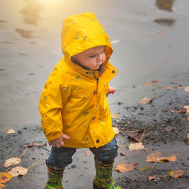 Rain coat by Jenny Hammer - Babies & Children Children Candids ( rain, toddler, puddles, baby, cute, boy )