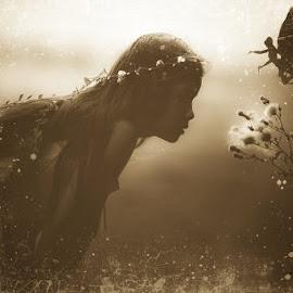 the fairy by Kathleen Devai - Digital Art People ( child, sepia, vintage, dream, fairy )