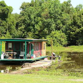 Dockside Home by Don Bates - Buildings & Architecture Homes ( water, houseboat, green, louisiana, swamp )