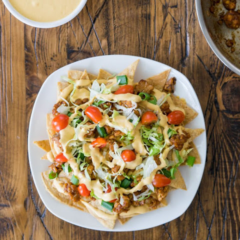 Loaded Nachos with Cashew Cheese and Maple-Chili Tempeh