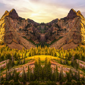 Sundial Peak Sunrise by Brandon Montrone - Digital Art Places ( mountain, peak, art, fine art, canyon, forest, landscape, mirrored reflections, mirror, tree, digital art, trees, symmetry, pine )