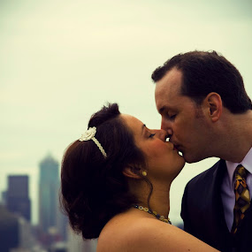 Kerry Park Kiss by Jamie Newton - Wedding Bride & Groom ( kiss, seattle, wedding, kerry park )
