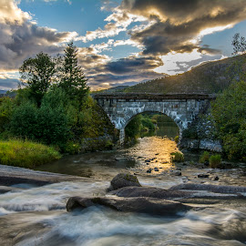 Small river running by Stian Krane - Landscapes Waterscapes ( clouds, water, sky, long exposure, river )