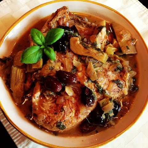 Pressure Cooker Chicken Thighs with Artichokes and Black Olives