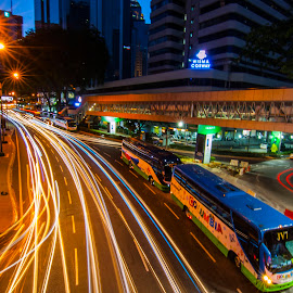 Road of KL  by Biman Sarkar - City,  Street & Park  Street Scenes ( car, light trail, bus, malaysia, road, light, kl, kuala lumpur )
