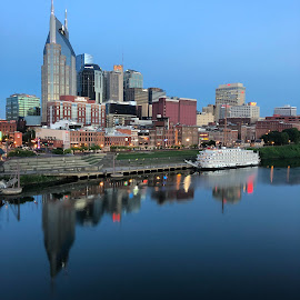 Riverboat at Nashville by Mary Phelps - City,  Street & Park  Skylines ( sunrise, nashville, tennesssee, cumberland river, downtown, skyline, riverboat )