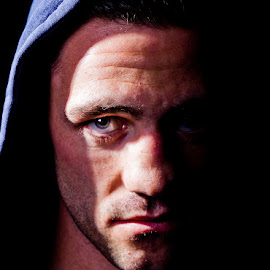 Portait of a Boxer by Kim Johnson - Sports & Fitness Boxing ( boxer, mean, combat, boxing, portrait )