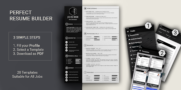 Free resume builder PDF formats CV maker templates screenshot for Android