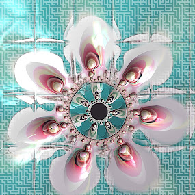 Mirror Mandala 2 by Pam Blackstone - Illustration Abstract & Patterns ( symmetrical, petals, seafoam, pink, symmetry, fractal, flower, mandala )