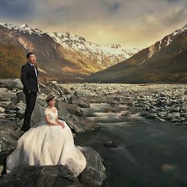 Mt Cook Streams by Zhuo Ya - Wedding Bride & Groom ( zhuoya, prewedding, wedding, zhuoya photography, new zealand )