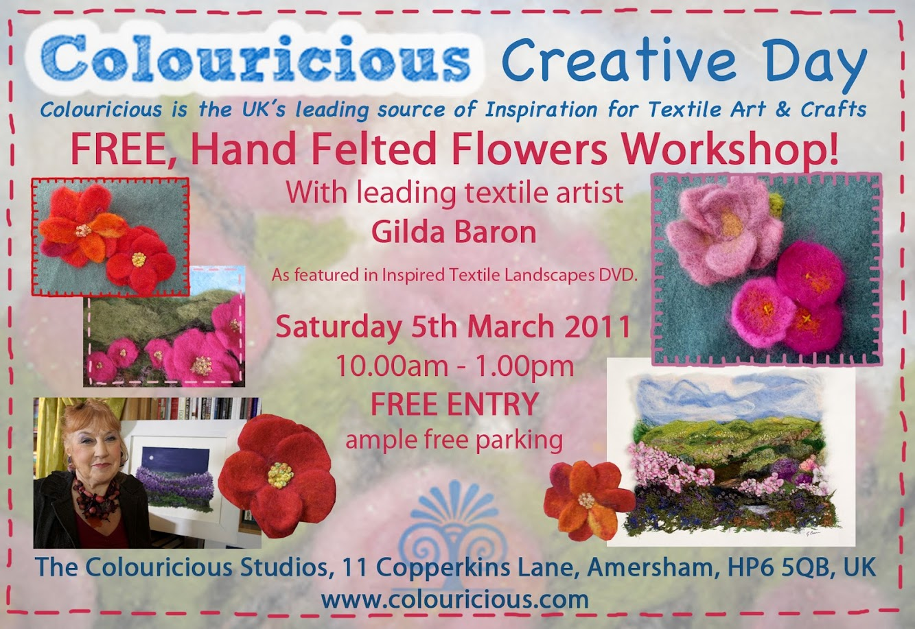 FREE Hand Felted Flowers Workshop!