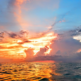 Summer storm in the western gulf by Jeffrey Lee - Landscapes Sunsets & Sunrises ( summer storm in the western gulf )