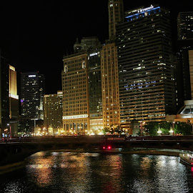 Chicago River by Nitika Sharad - City,  Street & Park  Street Scenes ( #nightphotography, #citylights, #chicagoriver, #river )