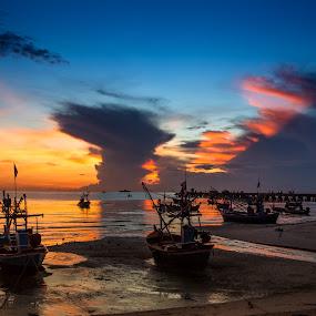 Rest by Arthit Somsakul - Landscapes Sunsets & Sunrises ( sand, sunset, sea, boat )